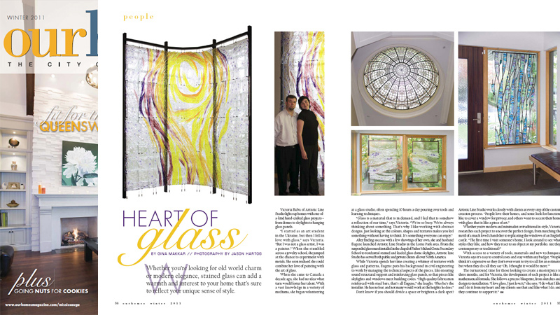 Our Homes Magazine has featured a story Hart of Glass about Artistic Line Studio and their projects. Story by Gina Makkar, photography by Jason Hartog.