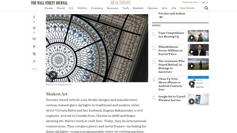Leaded glass domed skylight has been featured by The Wall Street Journal
