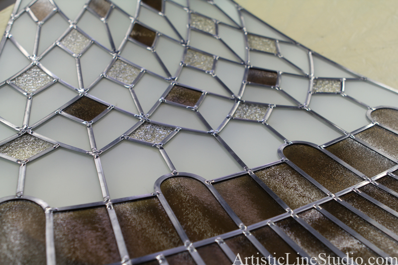 leaded glass soldering for oval stained and leaded glass dome
