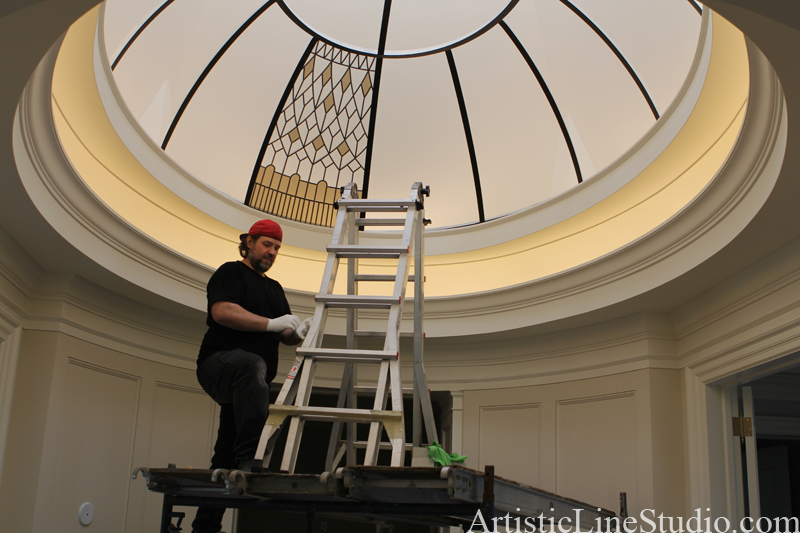 oval stained and leaded glass dome installation in progress