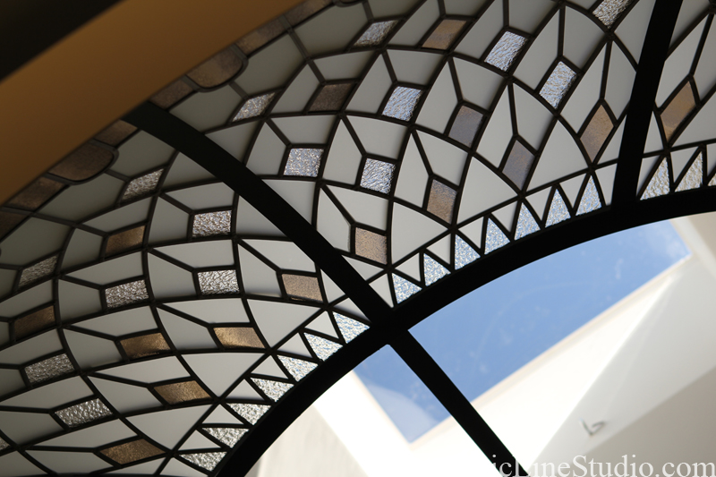 large oval stained and leaded glass dome detail installation