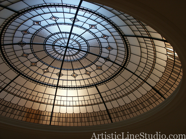 Stained glass dome in simple geometrical design with accent jewels for the custom built residence in Toronto