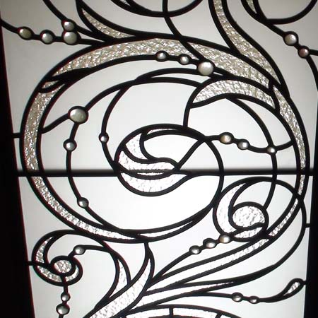Barocco style decorative glass ceiling panel with nuggets as accents