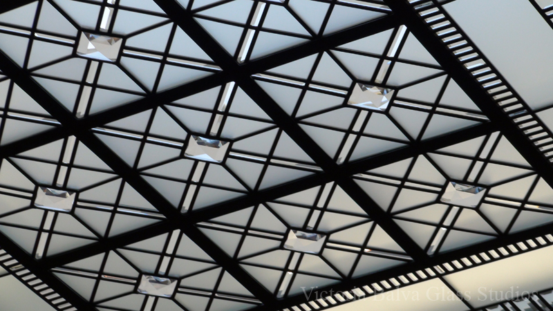 Leaded glass ornamental skylight with glass crystals in simple geometrical design