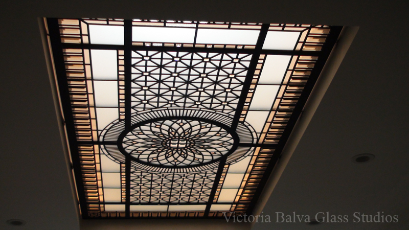 English Manor style decorative glass skylight. View from the second floor in perspective distortion