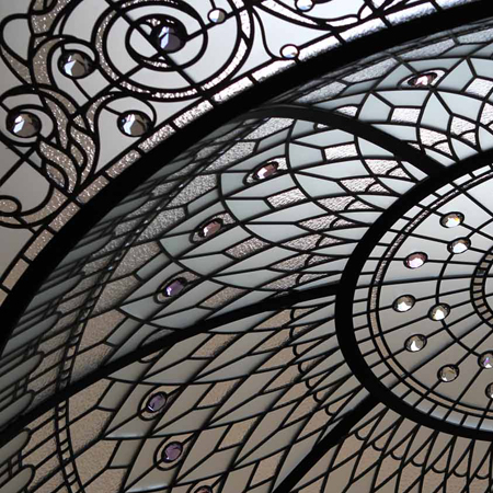 classic stained and leaded glass dome with crystal jewels