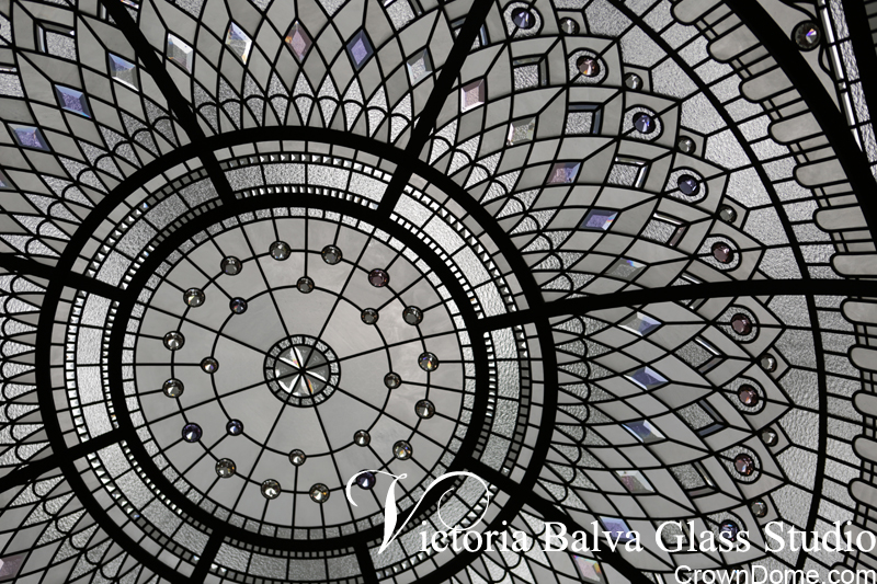 Leaded glass luxury dome with delicate elusive colors of hand beveled glass elements and accent crystal jewels