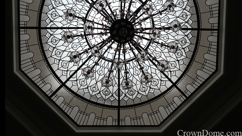 Large octagon leaded glass dome detail