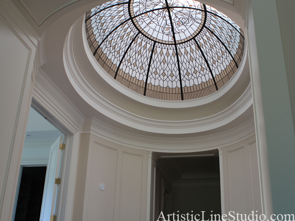 stained and leaded glass oval dome with classical elements and accent jewels