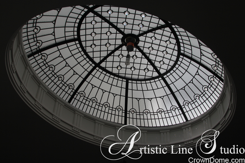 Leaded glass raised decorative ceiling  with beveled glass elements and accent crystal jewels  for a staircase of a private residence in Toronto