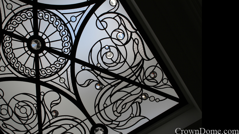 leaded glass colourless skylights with beveled glass and large crystal jewels with water jet cut elements in traditional style