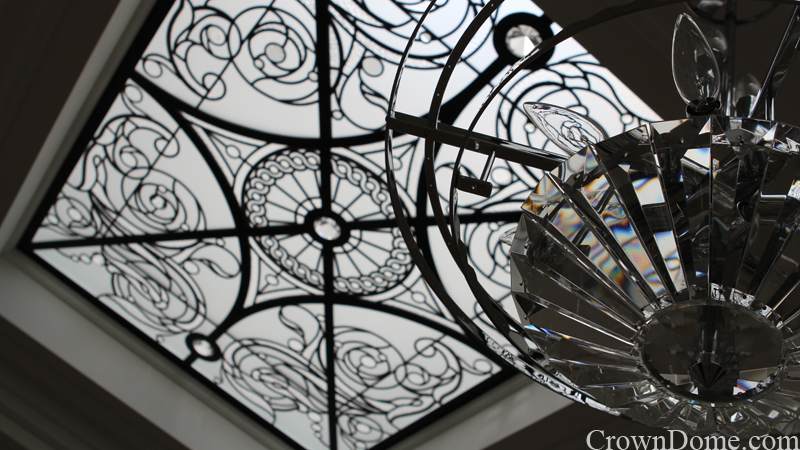 leaded glass flat skylights system with crystal chandelier