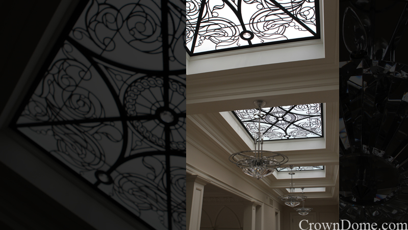 leaded glass flat skylights with bevels, crystal jewels and water jet cut details