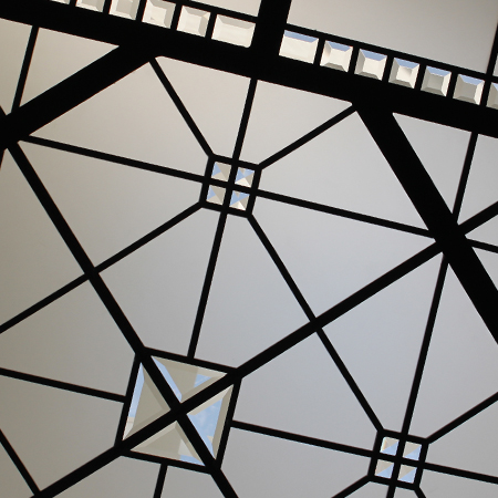 Leaded glass flat simple skylight with bevels