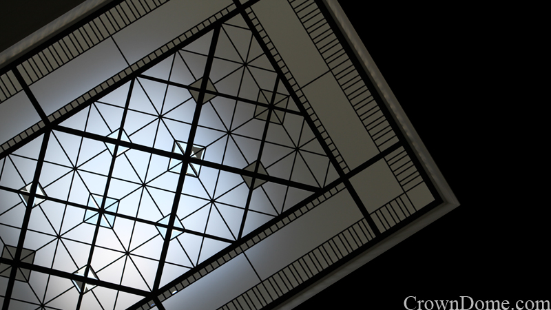 Leaded glass decorative skylight with clear beveled in traditional style for a foyer of a private residence in Toronto