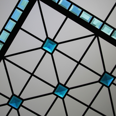 Little Turquoise Gemstone - beveled and leaded glass skylight