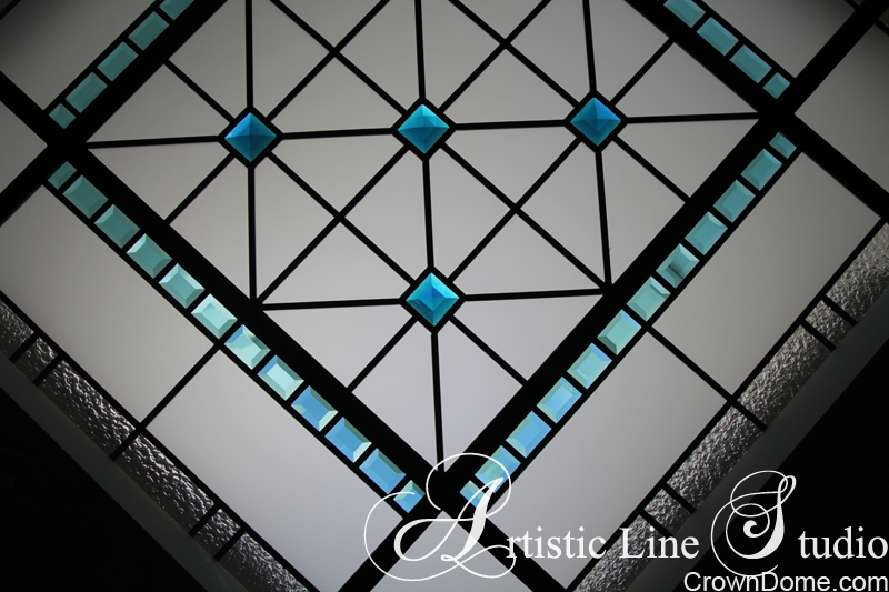 Leaded glass decorative ceiling skylight with turquoise beveled glass elements  for a foyer of a private residence in Kitchener