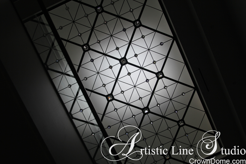 Large contemprorary leaded glass skylight ceiling with clear glass accents. Contemprorary minimalistic style