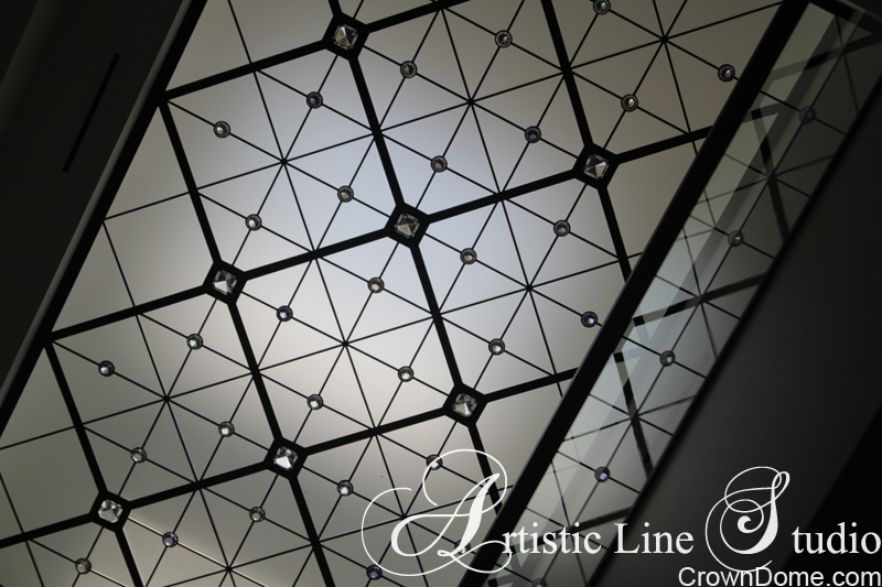 Leaded glass decorative ceiling skylight in minimalistic style with extra large jewels for a foyer of a private residence in Toronto