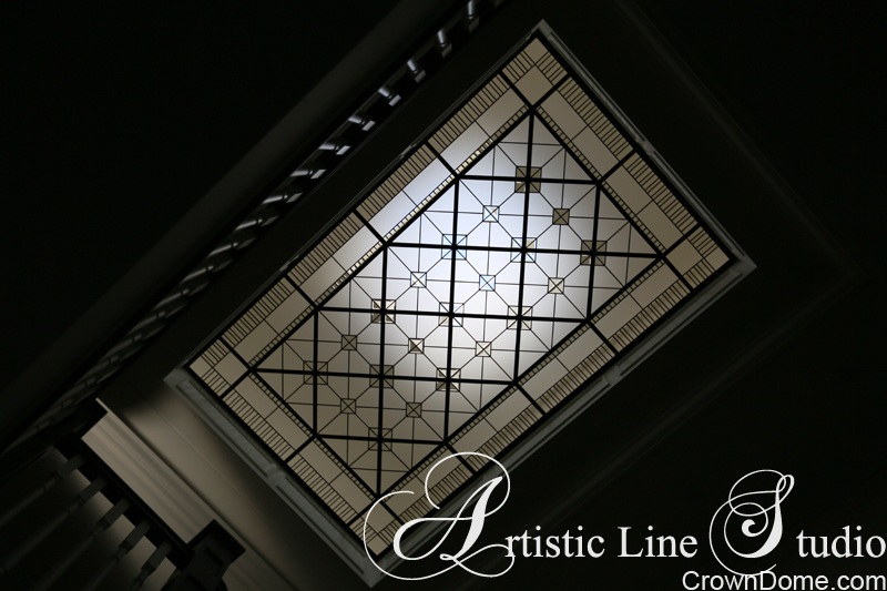 Large leaded glass decorative skylight with cleaar bevelled glass for a foyer of a private residence in Toronto