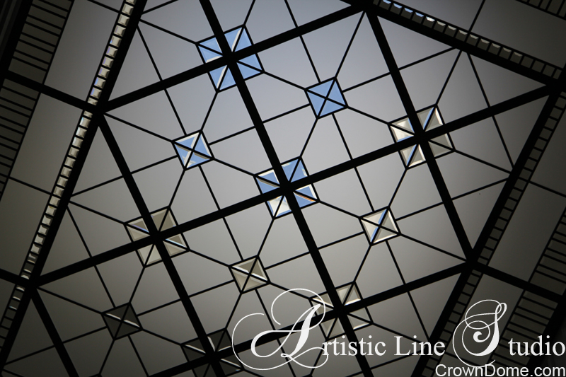 Leaded glass decorative ceiling skylight with beveled glass for a foyer of a private residence in Toronto