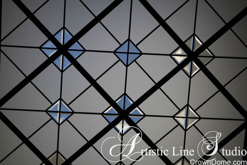 Leaded glass skylight with with bevelled and acid etched glass detail