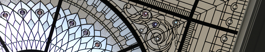 Stained and leaded glass skylight dome with crystal jewels and acid etched glass