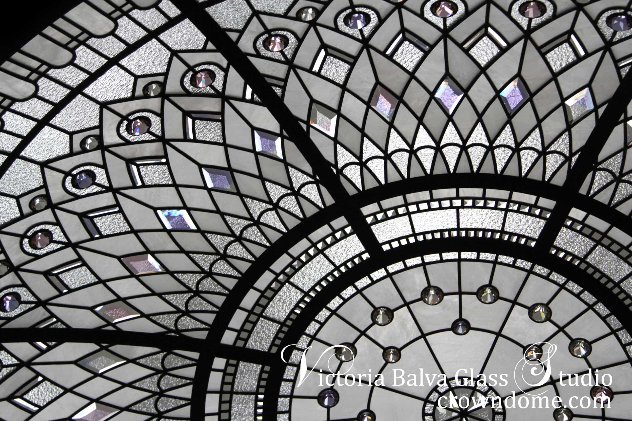 Stained and leaded glass dome skylight for a luxury custom built residence in Connecticut