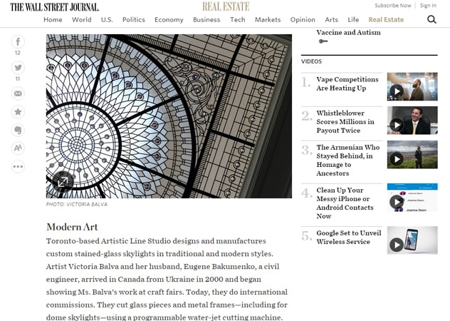 Stained and leded glass dome was deatured by The wall Street Journal in the article about Stained and leaded glass dome