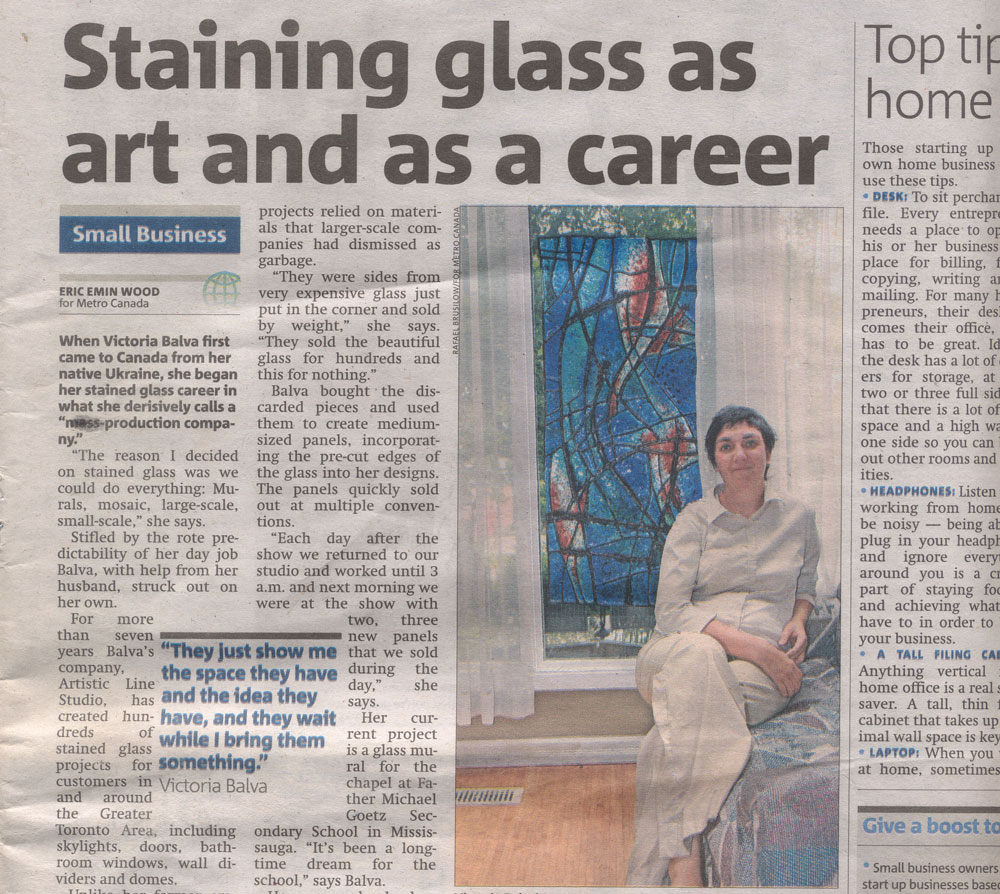 Stained glass artist Victoria Balva has been featured in the Metro