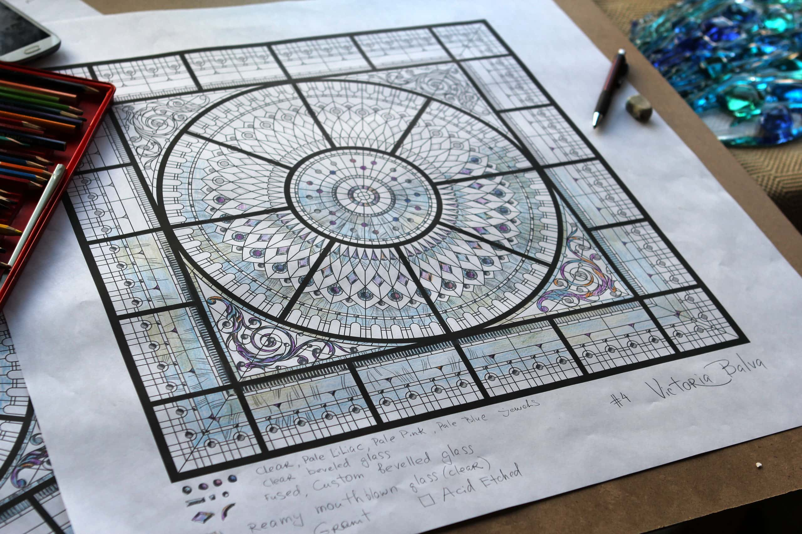 stained leaded glass dome design development with colored bevelled glass and crystal oleg cassini paperweights