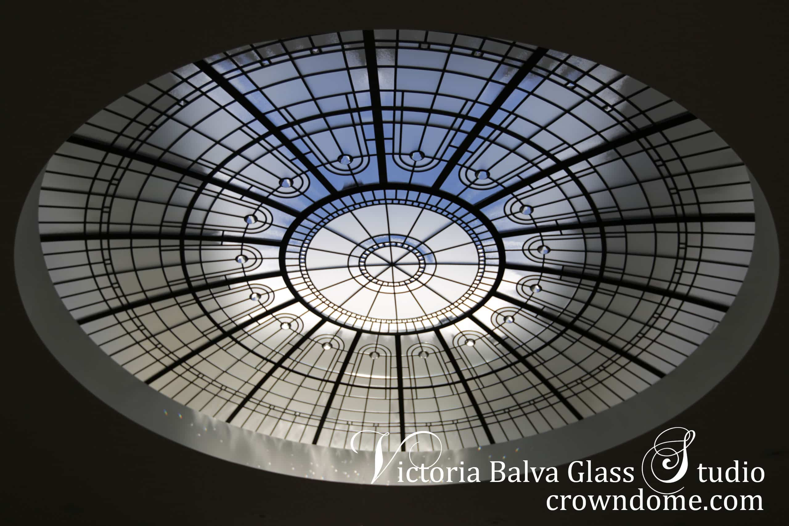 Large stained leaded glass dome ceiling in simple minimal design inspired by historical stained glass domes ceilings