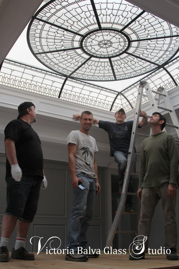 Glass installation team / Victoria Balva Glass Studio. The installation team is a seamless extension of Victoria Balva Glass Studio's capabilities to deliver and install large-scale leaded glass domes and ceilings with competency and professionalism.