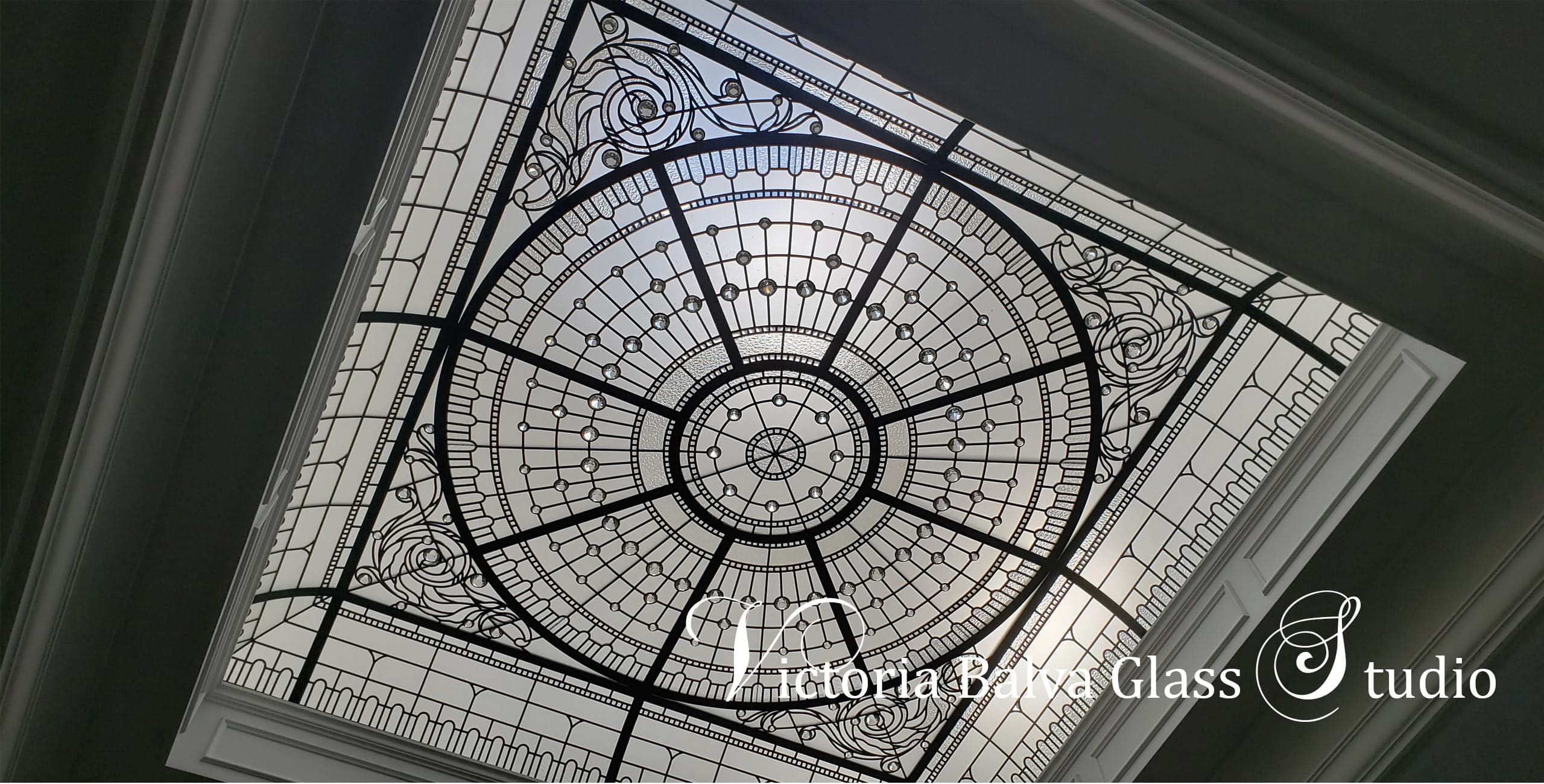 Classically modern monochromatic leaded glass skylight for foyer of a private residence in Toronto[