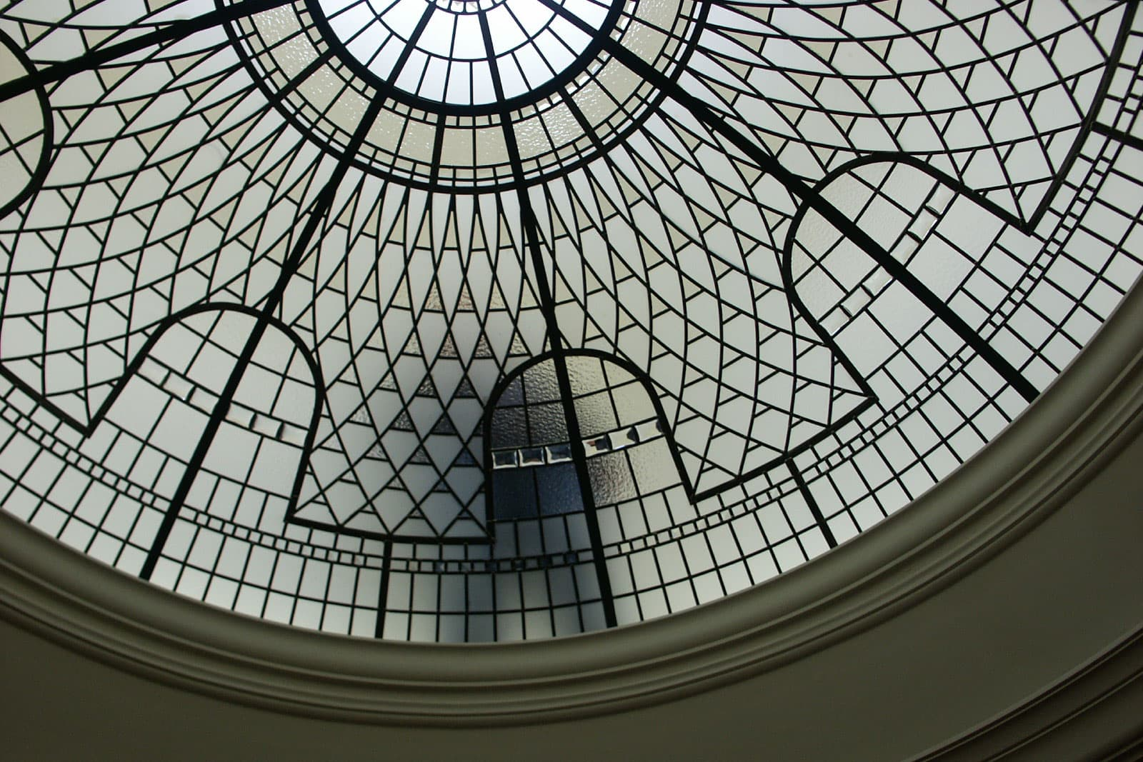 Leaded glass dome after installation, glass cleaning access