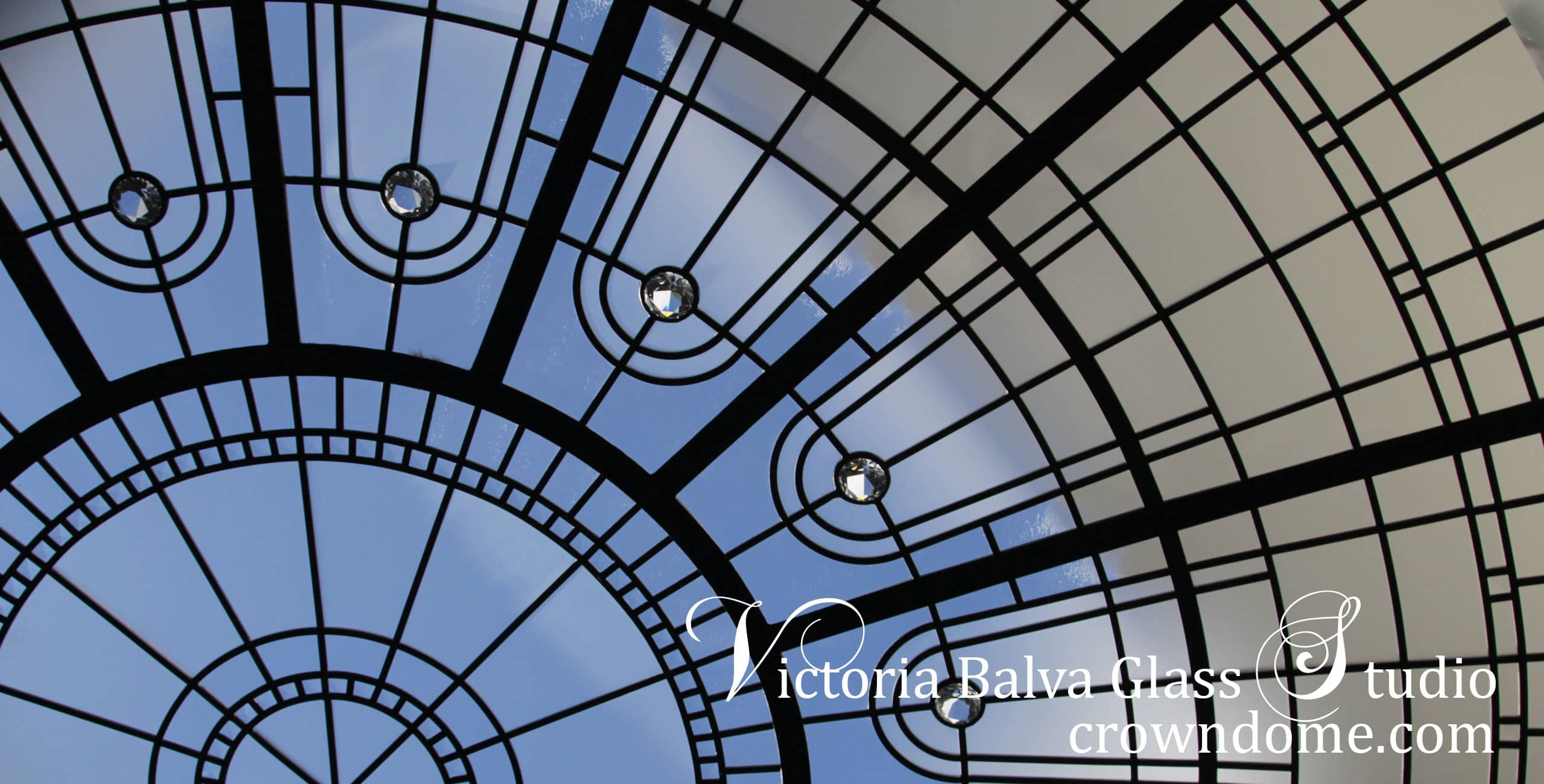 Leaded glass dome 9 feet diameter for a luxury home in Toronto in geometrical style