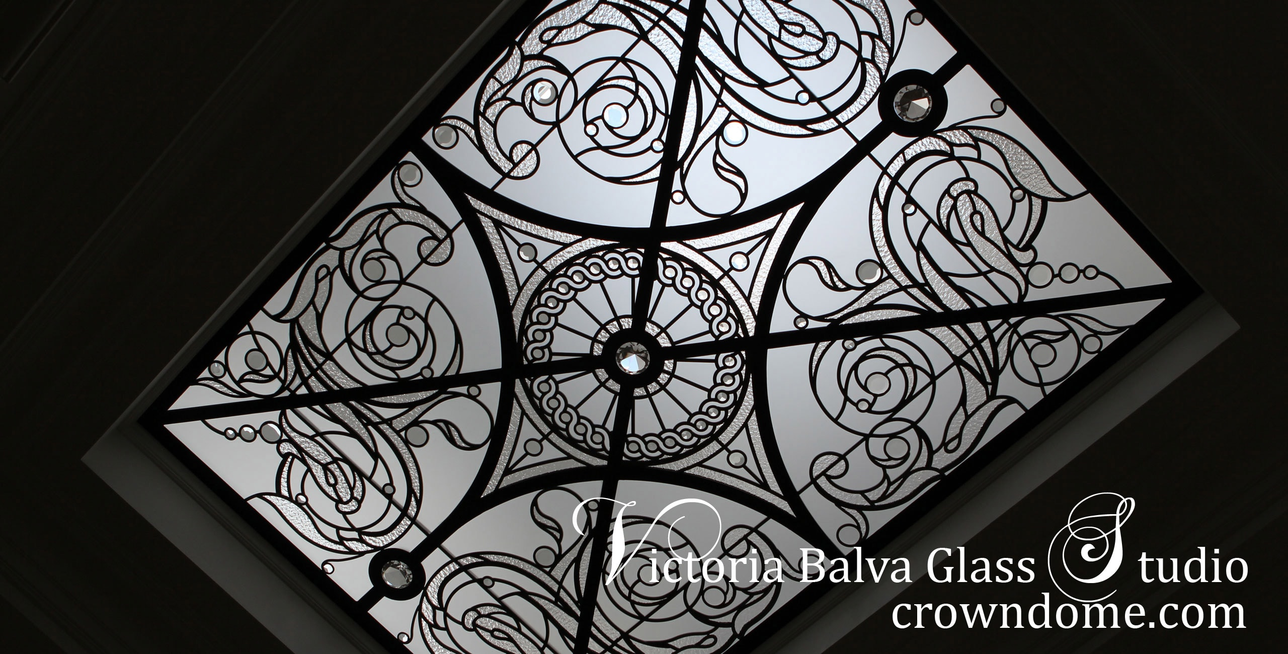 Leaded glass skylight ceiling Germana in classic style with large crystal jewels for a luxury built private residence. Clear textured glass, beveled glass, clear crystal jewels. Original design by glass artist Victoria Balva