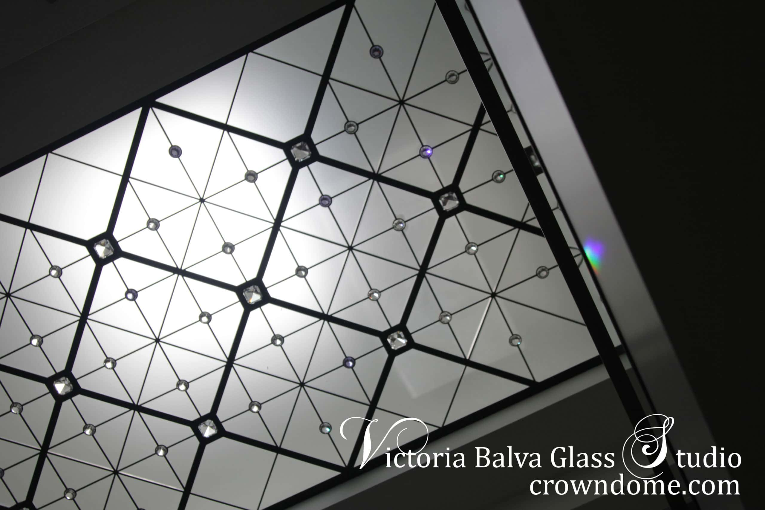 Leaded glass decorative ceiling skylight with extra large crystal jewels for a foyer of a private residence in Toronto