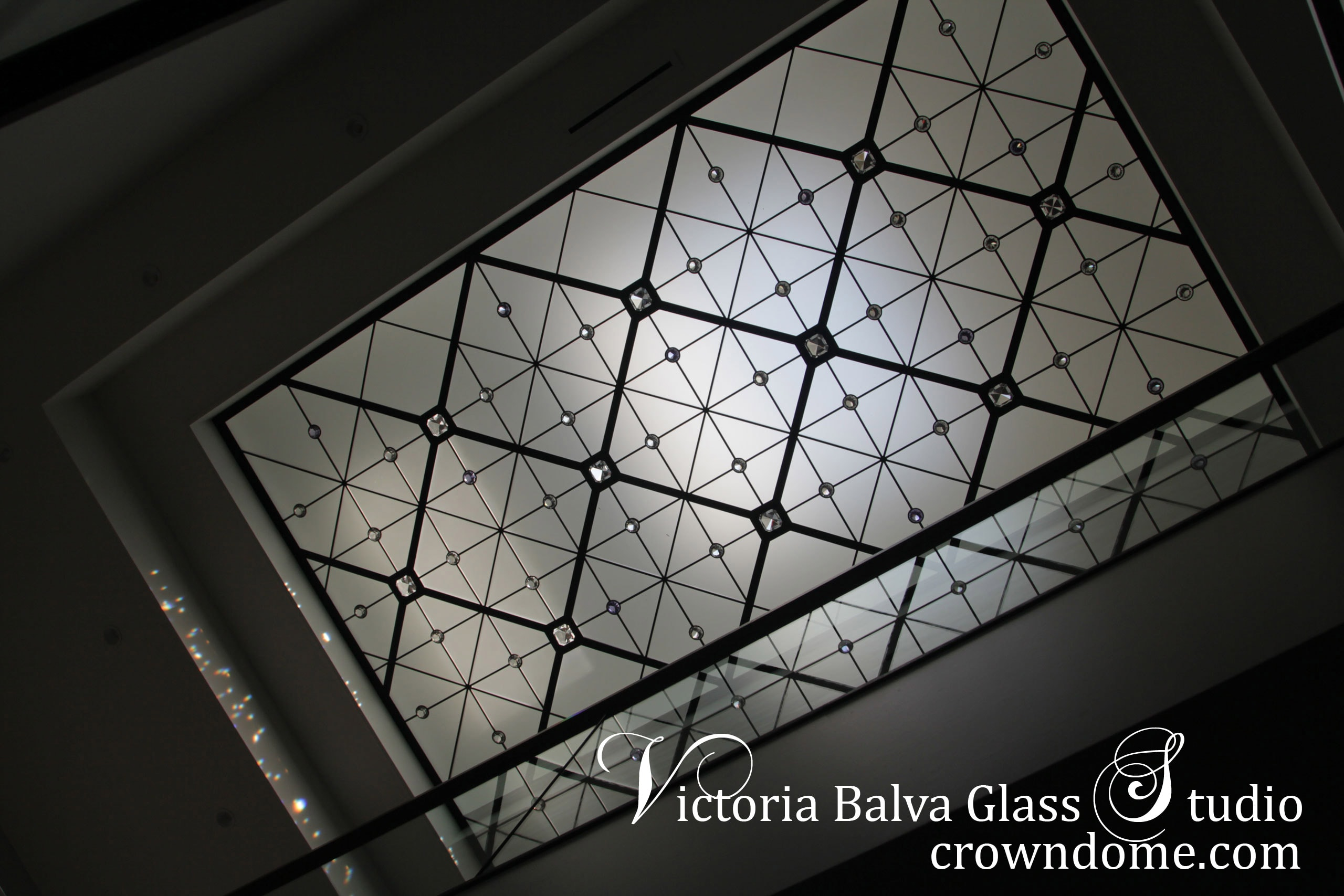 Large leaded glass decorative skylight with clear accent jewels in minimalistic contemprorary style for a foyer of a private residence in Toronto