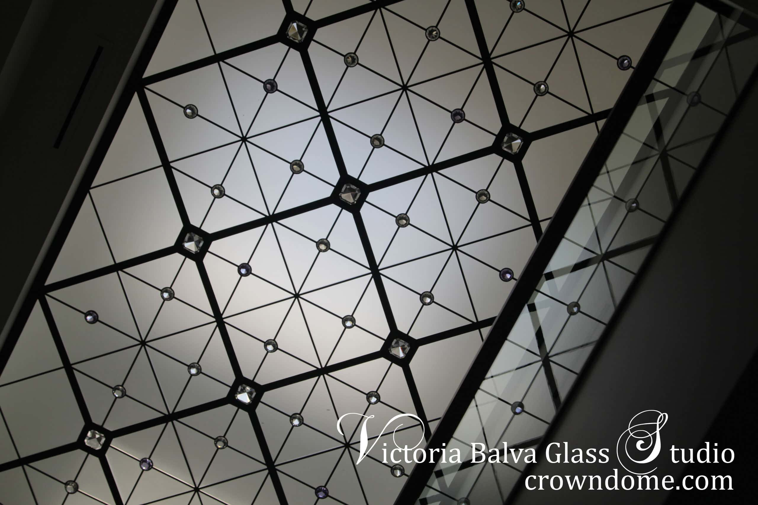 Contemporary style leaded glass skylight ceiling in minimal design with clear and pale lilac crystal jewels