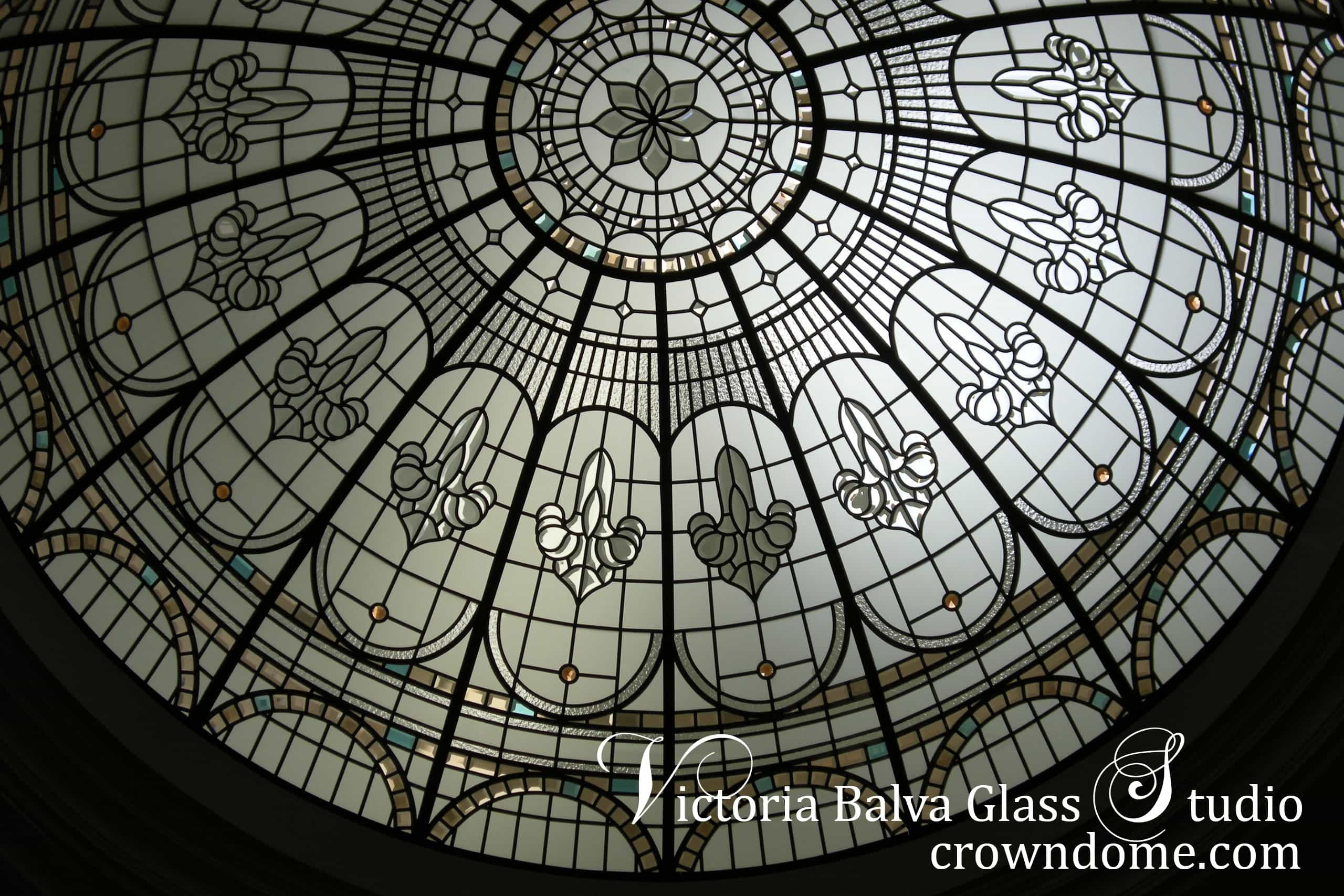 Custom made stained glass dome design for a luxury residence in New York