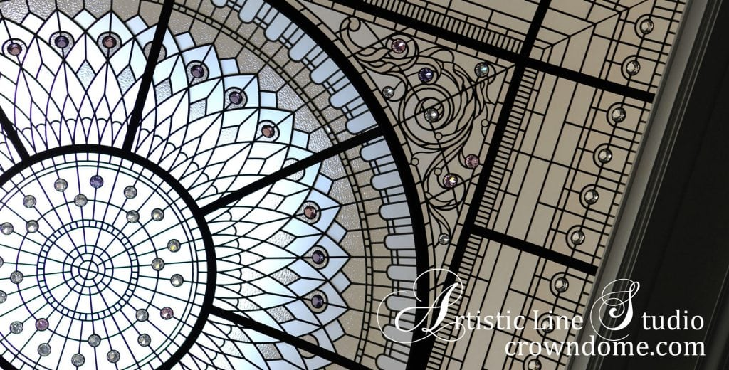 stained glass dome ceiling for a double-height grand entrance foyer of custom built luxury estate in Toronto 37 Bridle Path
