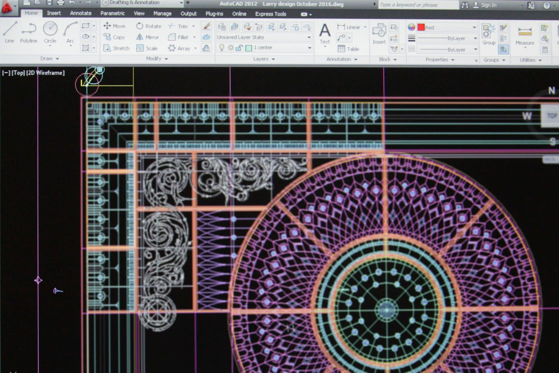 Stained glass dome design development process with AutoCAD in scale 1 to 1. Large scale stained glass domed ceiling design