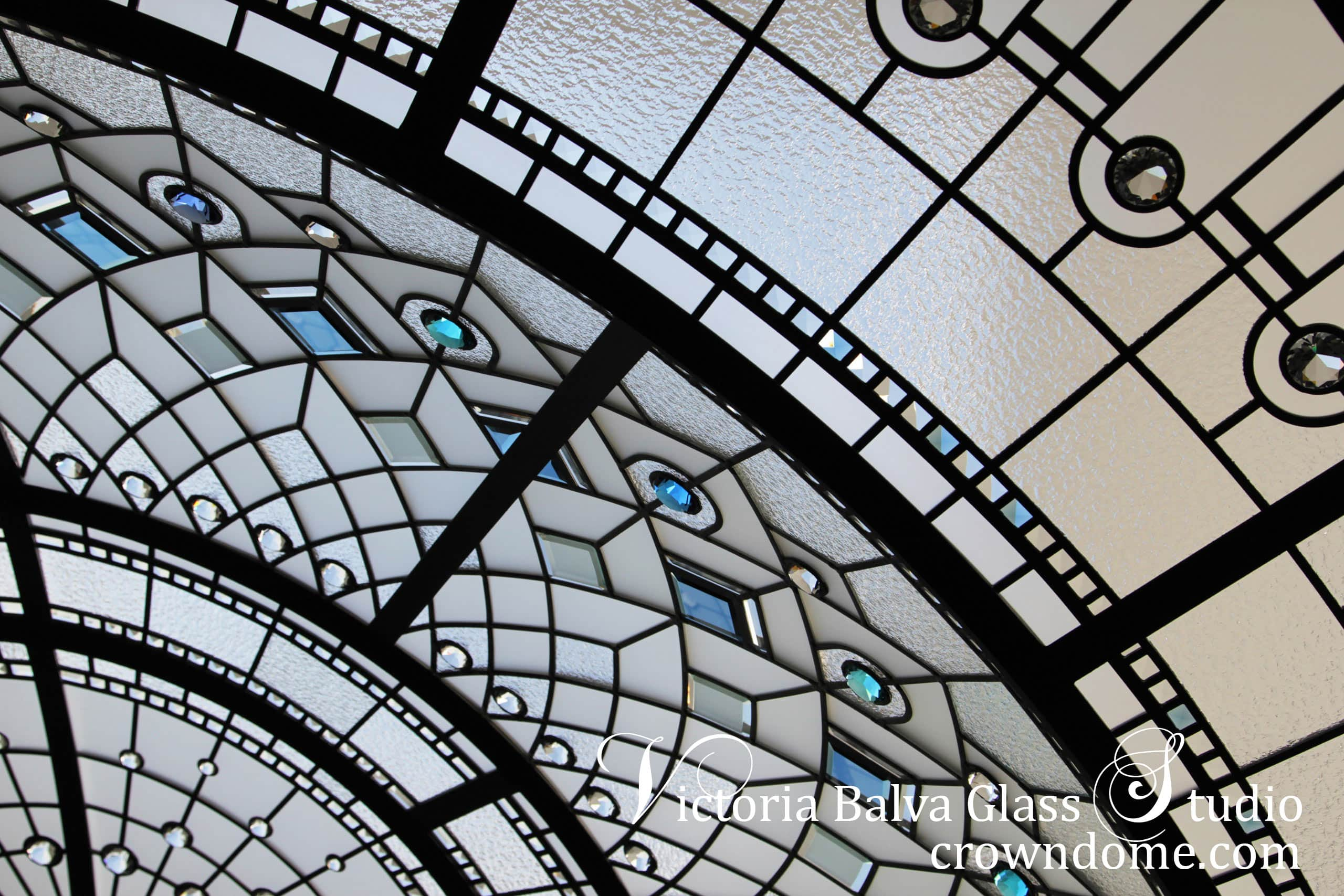 Stained leaded glass octagon dome with geometric design , custom made colored beveled glass, crystal jewels
