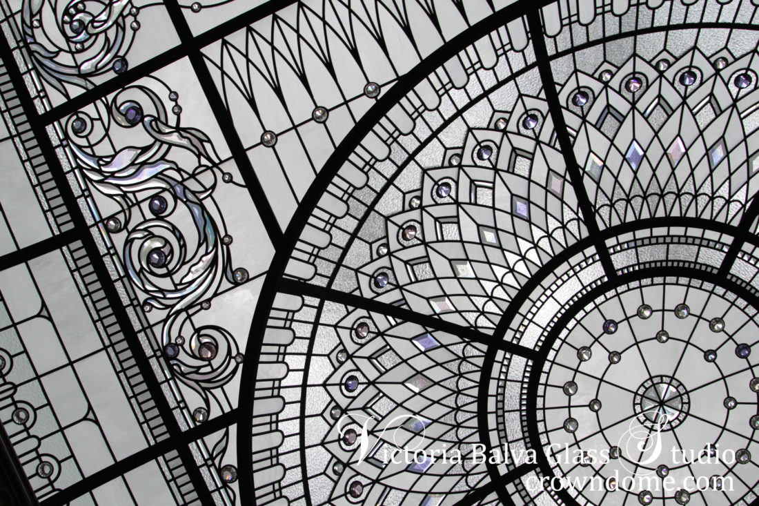 Classically modern leaded glass domed skylight with barrel vault borders, custom beveled glass, ctystal jewels