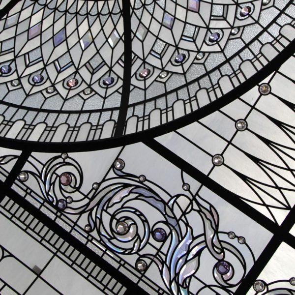 stained and leaded glass skylight with colored beveled glass acanthus and delicate illusive colors of crystal jewels