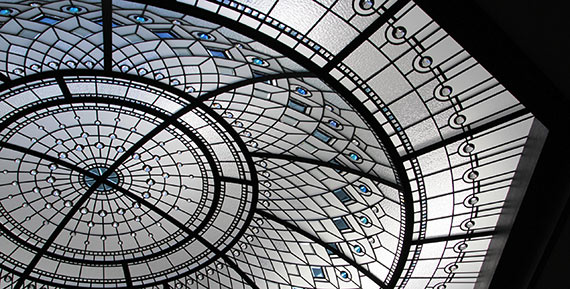 Beveled stained leaded glass dome skylight Blue Lotus
