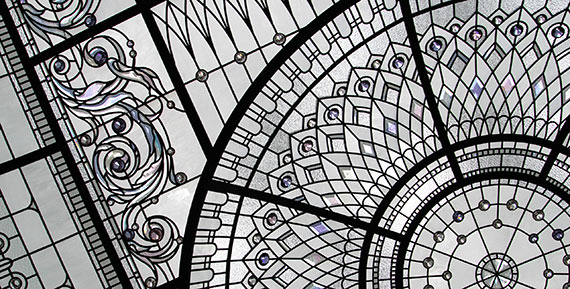 Custom stained glass dome skylight ceiling New Haven