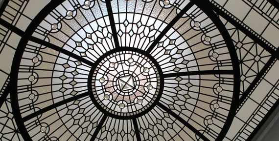 Bathroom leaded glass dome skylight The Bridle Path