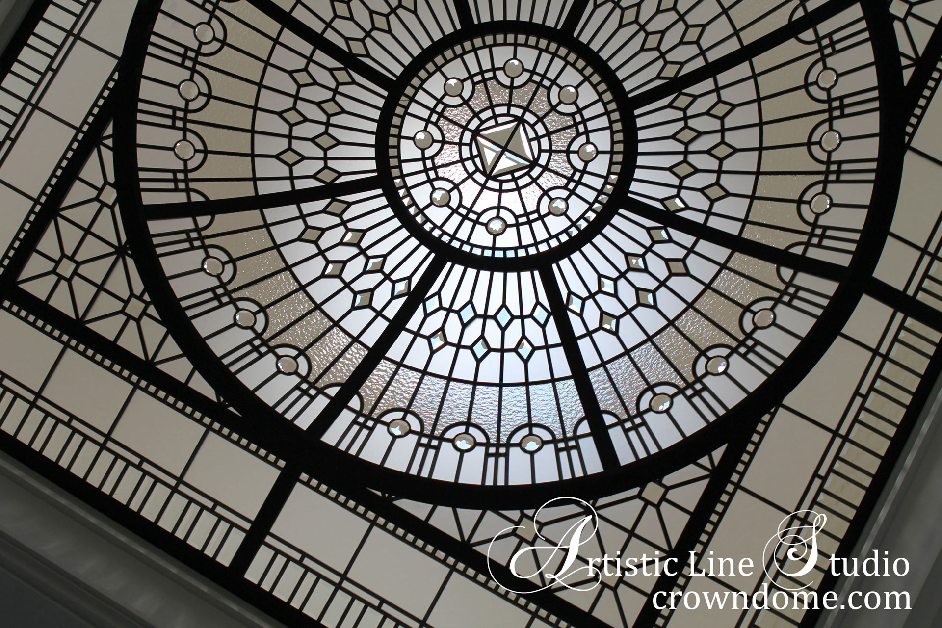 Leaded glass dome skylight ceiling with clear textured glass, large glass jewels, beveled glass in modern contemporary geometrical design for a bathroom of a custom built house